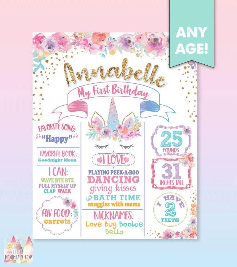 Unicorn First Birthday Poster. Unicorn Birthday Poster. Unicorn Birthday Board. Unicorn First Birthday Board. Unicorn First Birthday Poster
