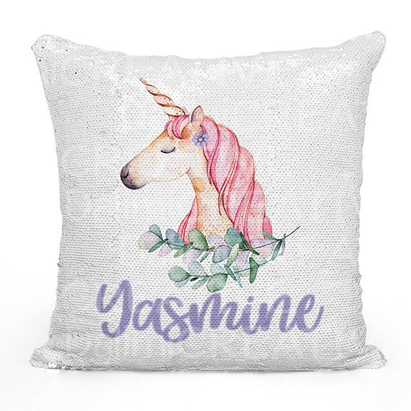 Unicorn Pillow Sequin Cushion Cover - Personalised Cushion Cover - Name Pillow - Unicorn Pillow!