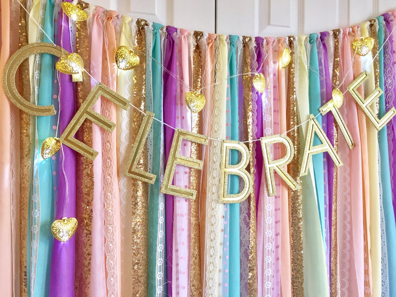 Unicorn Rainbow Pastels & Gold Sequin Garland Backdrop - birthday, baby shower, wedding ... Fabric, Sequin and Lace